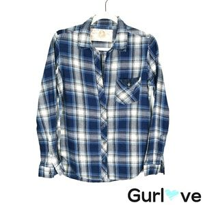 Bella Dahl Blue Flannel Button Shirt Size S